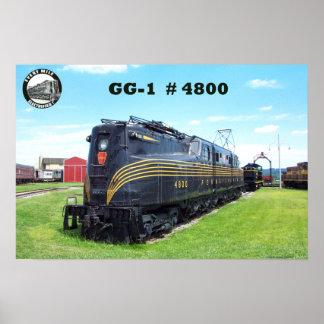 Locomotora GG-1 #4800 -2- del ferrocarril de Penns Póster