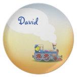 Locomotora impresionante con nombre del niño plato para fiesta