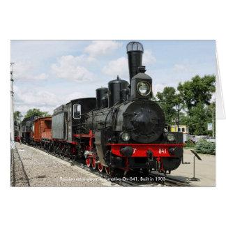Locomotora, locomotora de vapor retra rusa Ov-8… Felicitación