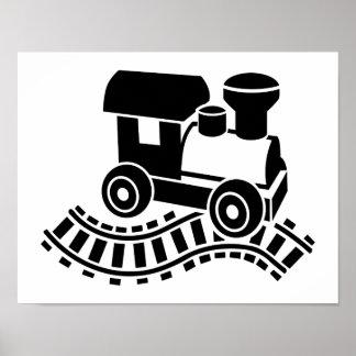 Locomotora modelo del carril del ferrocarril póster