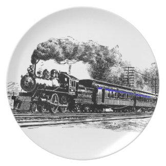 Locomotora y tren plato