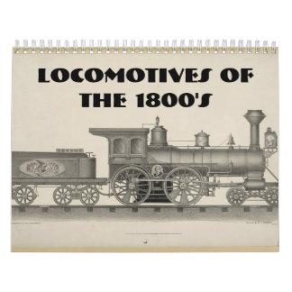 Locomotoras de los 1800s calendario de pared