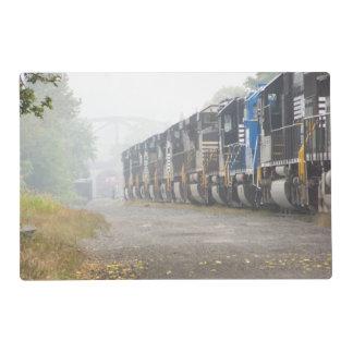 Locomotoras del ferrocarril en la niebla Placemats Salvamanteles