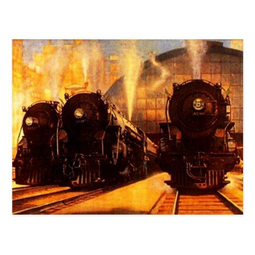 Locomotoras triples en la POSTAL de la estación