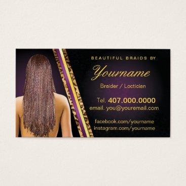 Professional Business Loctician Hair Braider Salon Braids Business Card