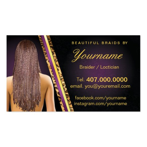 Loctician hair braider salon braids double sided standard for Hair braiding business cards