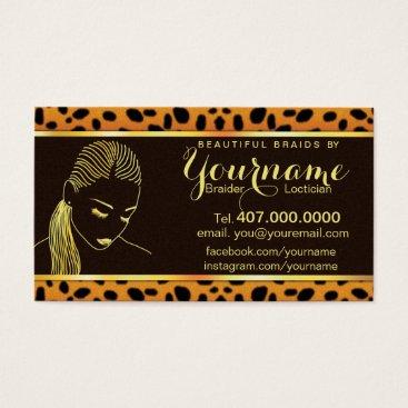Professional Business Loctician Hair Braider Salon Business Card