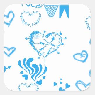 Locura azul del corazón pegatina cuadrada
