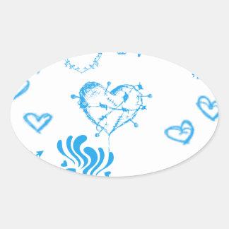 Locura azul del corazón pegatina ovalada