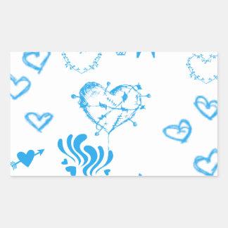 Locura azul del corazón pegatina rectangular