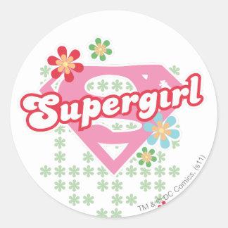 Locura de la flor de Supergirl Pegatinas Redondas
