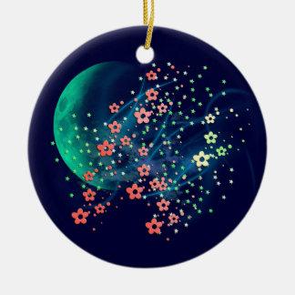 Locura de la luna adorno navideño redondo de cerámica