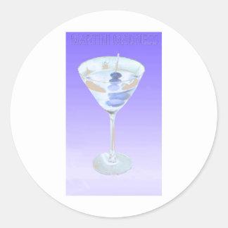 locura de martini pegatina redonda