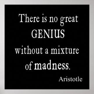 Locura del genio de Aristóteles del vintage gran Impresiones