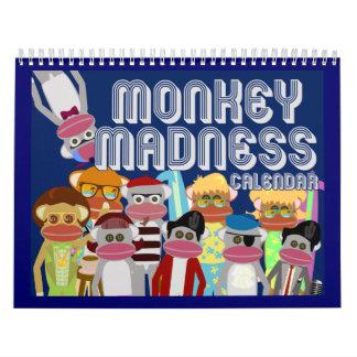 Locura del mono del calcetín calendarios de pared