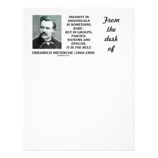 Locura en individuos algo Nietzsche raro Membrete Personalizado