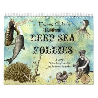 Locuras del mar profundo de Steampunk de la Calendario De Pared