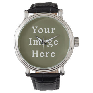 Loden Green Color Trend Blank Template Wristwatch