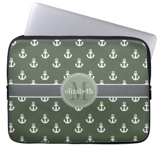 Loden Green White Ship Anchors Monogram Computer Sleeve