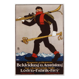 Loden Ski Clothes Skiing Advertisement Poster