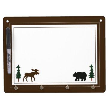 Lodge Bear & Moose Rustic Dry Erase Board