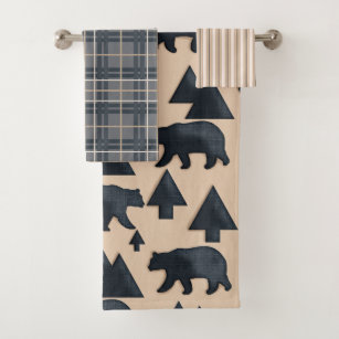 Lodge Black Bear Bath Towel Set