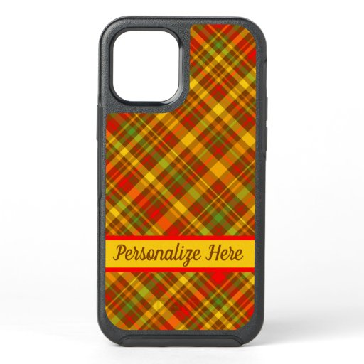 Lodge Cabin Rustic Autumn Plaid Personalized OtterBox Symmetry iPhone 12 Case