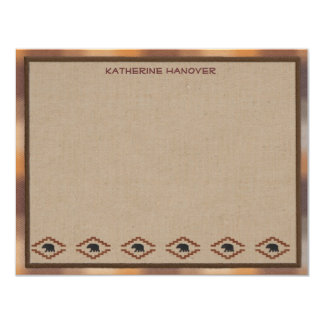 Lodge Style Personalized Flat Note Cards - Bear