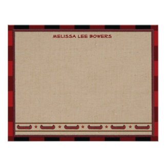 Lodge Style Personalized Flat Note Cards - Canoe