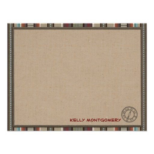 Lodge Style Personalized Flat Note Cards - Compass