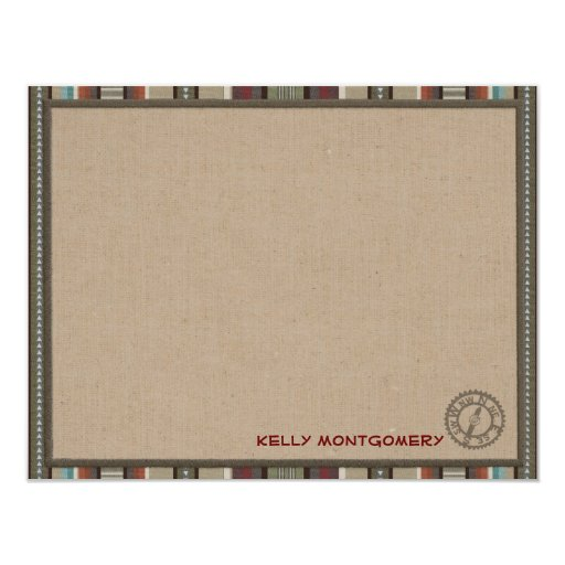 """Lodge Style Personalized Flat Note Cards - Compass 4.25"""" X 5.5"""" Invitation Card"""