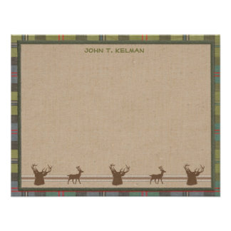 Lodge Style Personalized Flat Note Cards - Deer