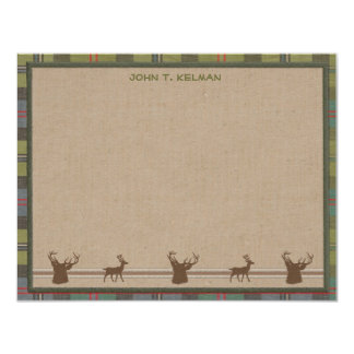 "Lodge Style Personalized Flat Note Cards - Deer 4.25"" X 5.5"" Invitation Card"