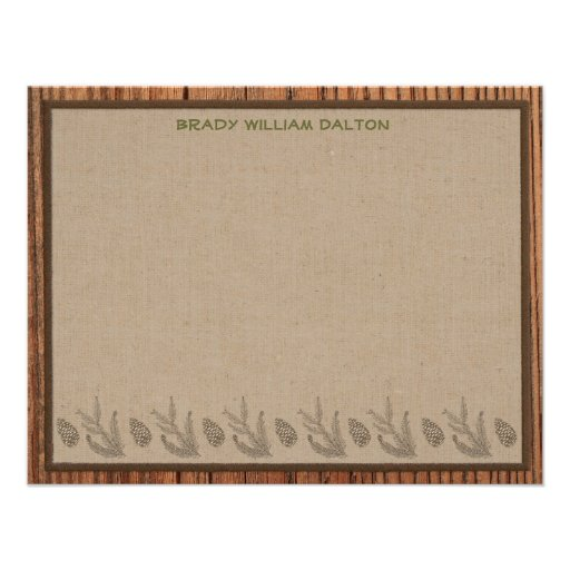 Lodge Style Personalized Flat Note Cards - Wood