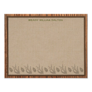 Lodge Style Personalized Flat Note Cards - Wood Custom Invites