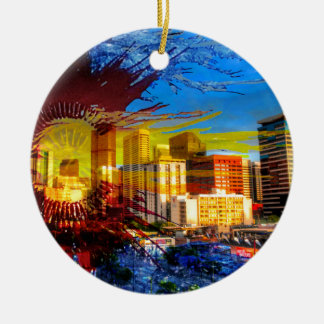 LoDo Denver with Colorado Flag Ceramic Ornament