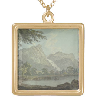 Lodore Rocks - fall & cottage distance (pen & ink Gold Plated Necklace