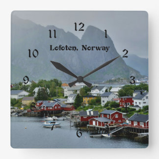 Lofoten, Norway scenic landscape photograph Square Wall Clock