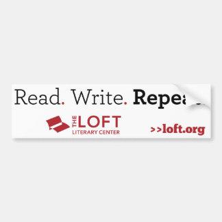 Loft Bumper Sticker: Read. Write. Repeat Car Bumper Sticker