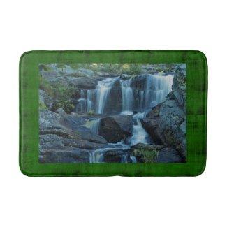Lofty Rocks & Waterfall in Emerald Green Forest Bath Mat