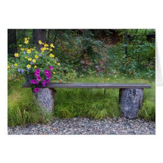 Log Bench And Flower Bucket Along Lush Green Grass Card