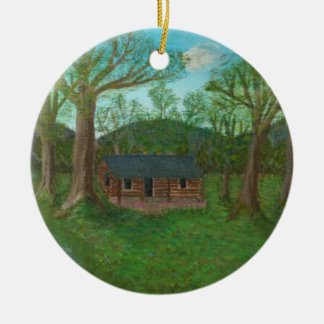 Log Cabin and Trees Ceramic Ornament