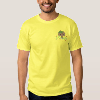 Log Cabin Birdhouse Embroidered T-Shirt