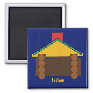 Log Cabin Building Toy Personalized Magnet