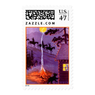 Log Cabin Campfire Trail Riding Mountains STAMPS