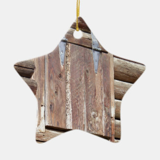 Log Cabin Ceramic Ornament