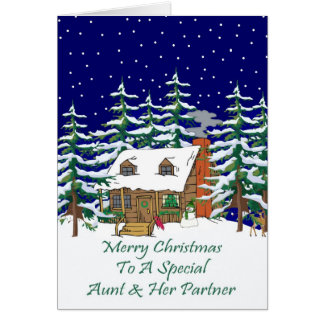 Log Cabin Christmas Aunt & Partner Card