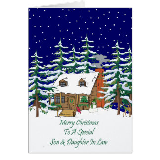 Log Cabin Christmas Son Daughter In Law Card