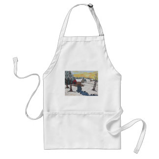 Log Cabin Covered Bridge Adult Apron