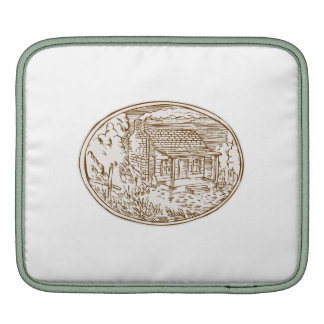 Log Cabin Farm House Oval Etching Sleeve For iPads